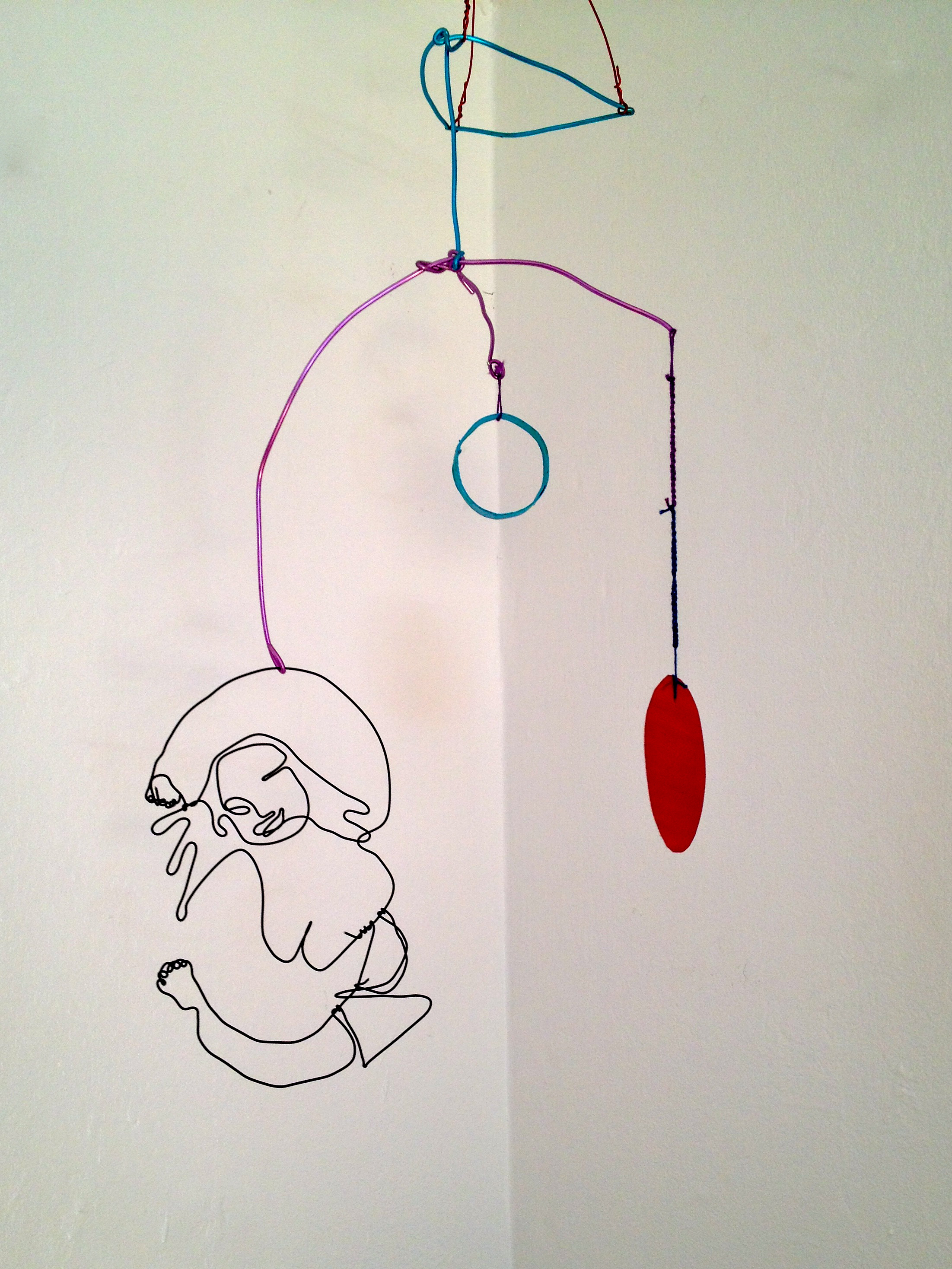 Maureen Cavanaugh.  Panty Dropper . Wire, metal, cardboard, embroidery thread and enamel paint. 18 inches x 12 inches. 2013.