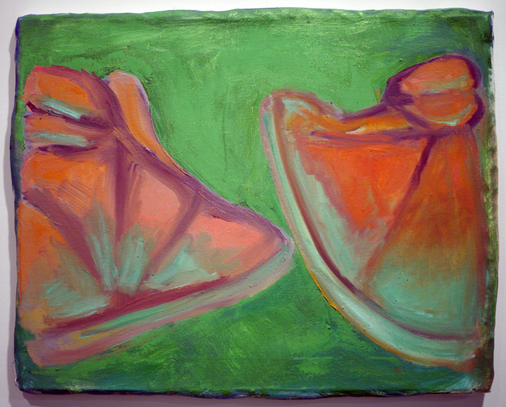 George Gittins. Untitled (shoes II) . oil on canvas stretched over clay and wood. 16 inches x 20 inches (variable). 2013.
