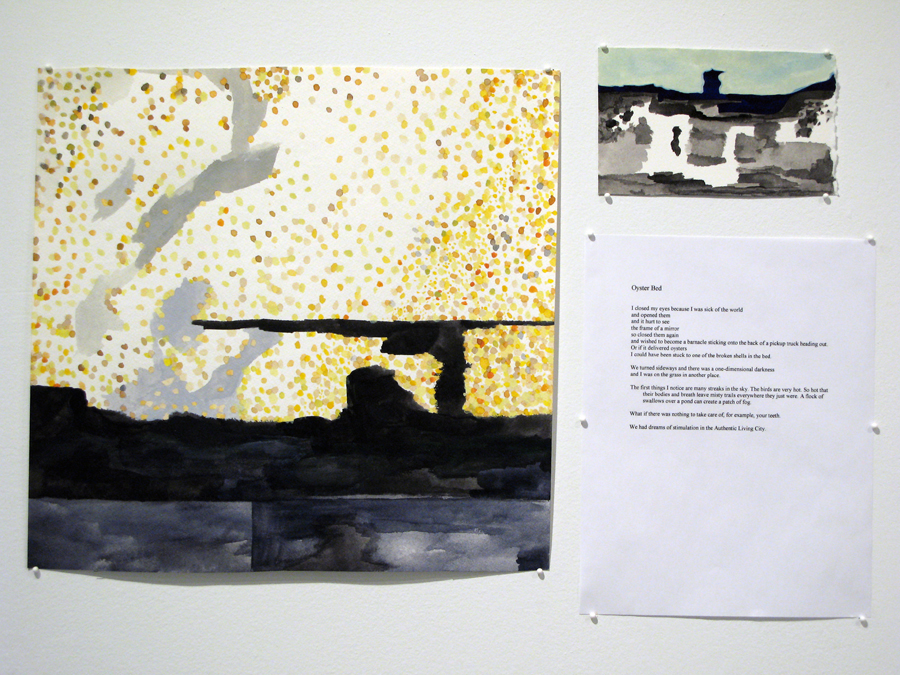 Nellie Bridge.   Oyster Bed  . Watercolors and poem. 2009.