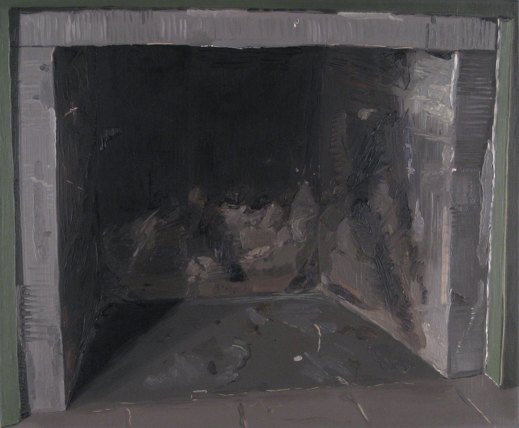 Josephine Halvorson.  Fireplace (Soot)  . Oil on Linen. 19 x 22 inches.