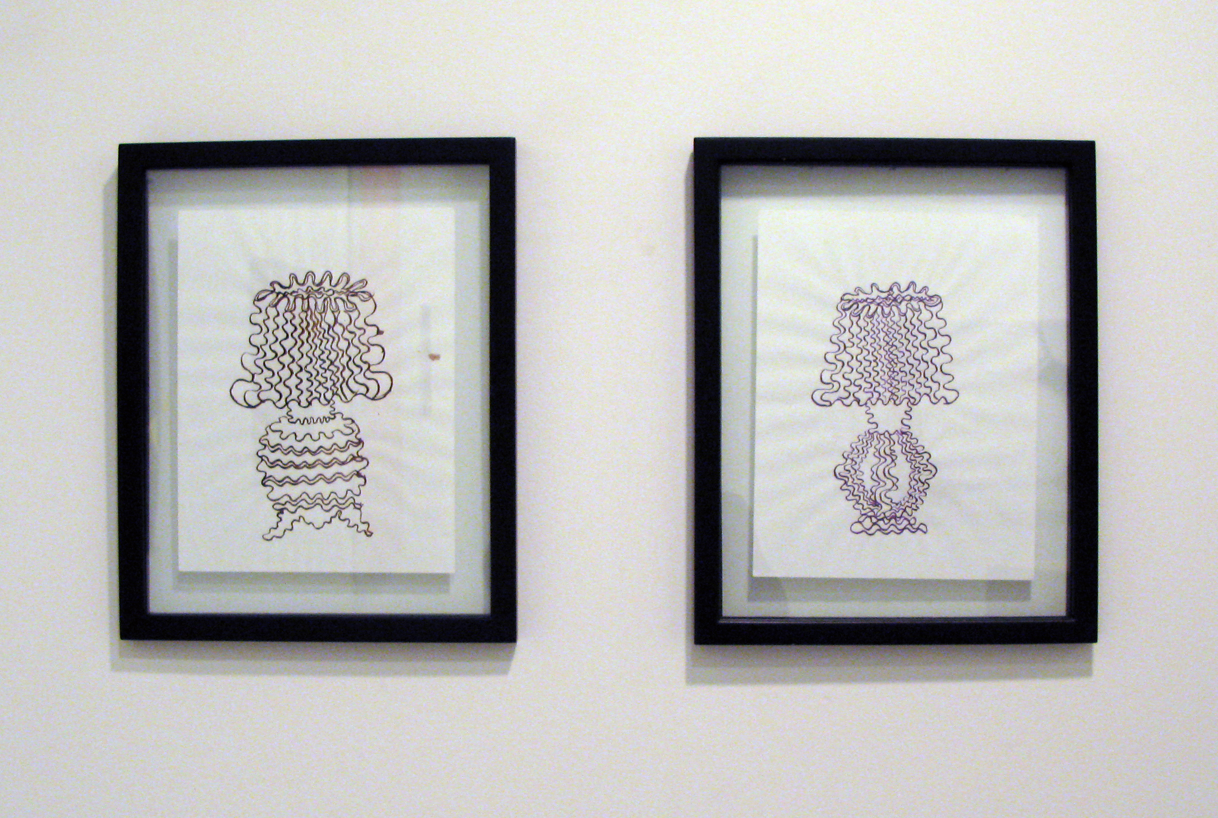 Brian Belott.  Untitled (Lamp 1)  and  Untitled (Lamp 2)  . Pen on Paper. Each 15 x 12 inches.
