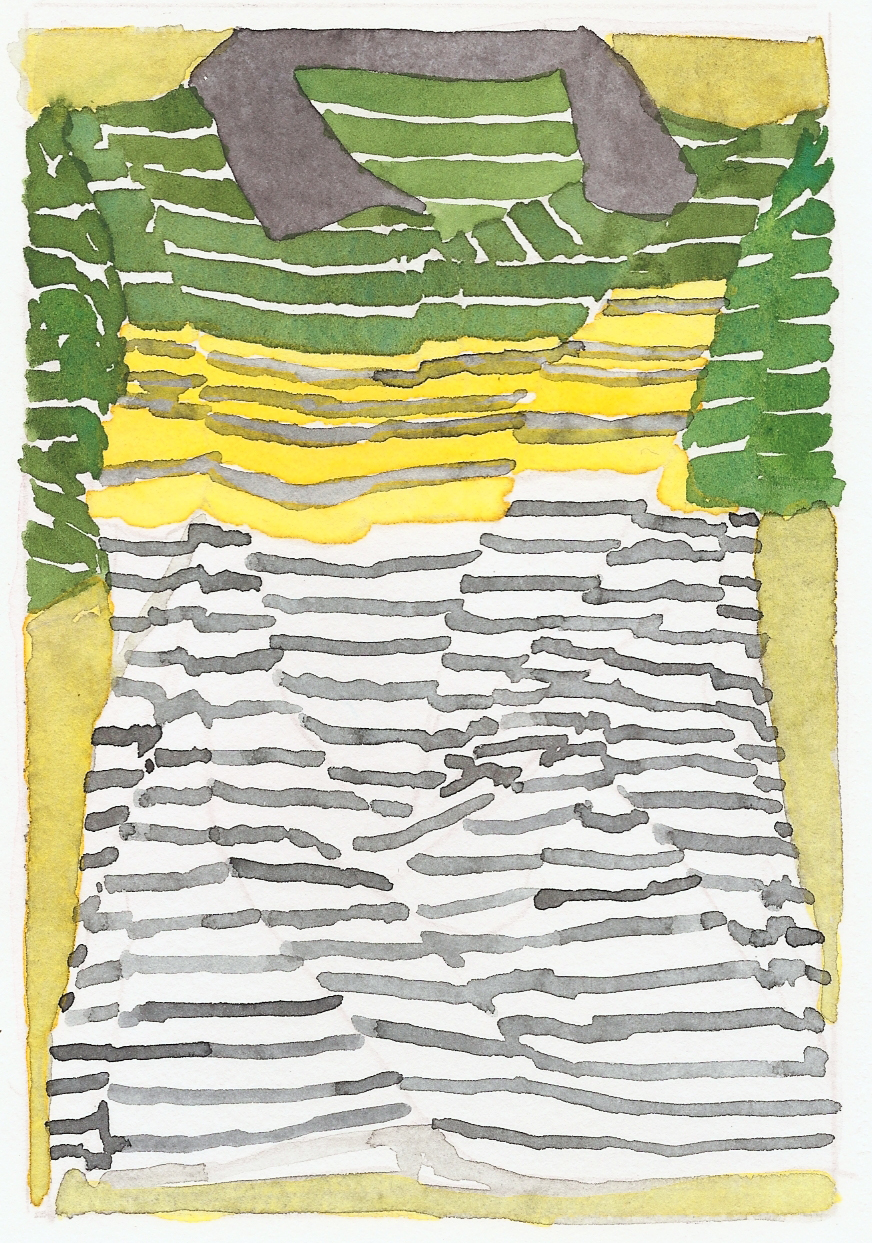 Roger White.   Untitled  . Watercolor and colored pencil on paper. 11 x 8.5 inches.