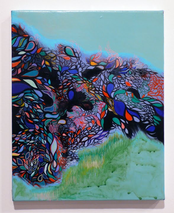 Jennifer Coates  Windbreak.  Acrylic on canvas.  9.5 inches x 11.75 inches  2009.