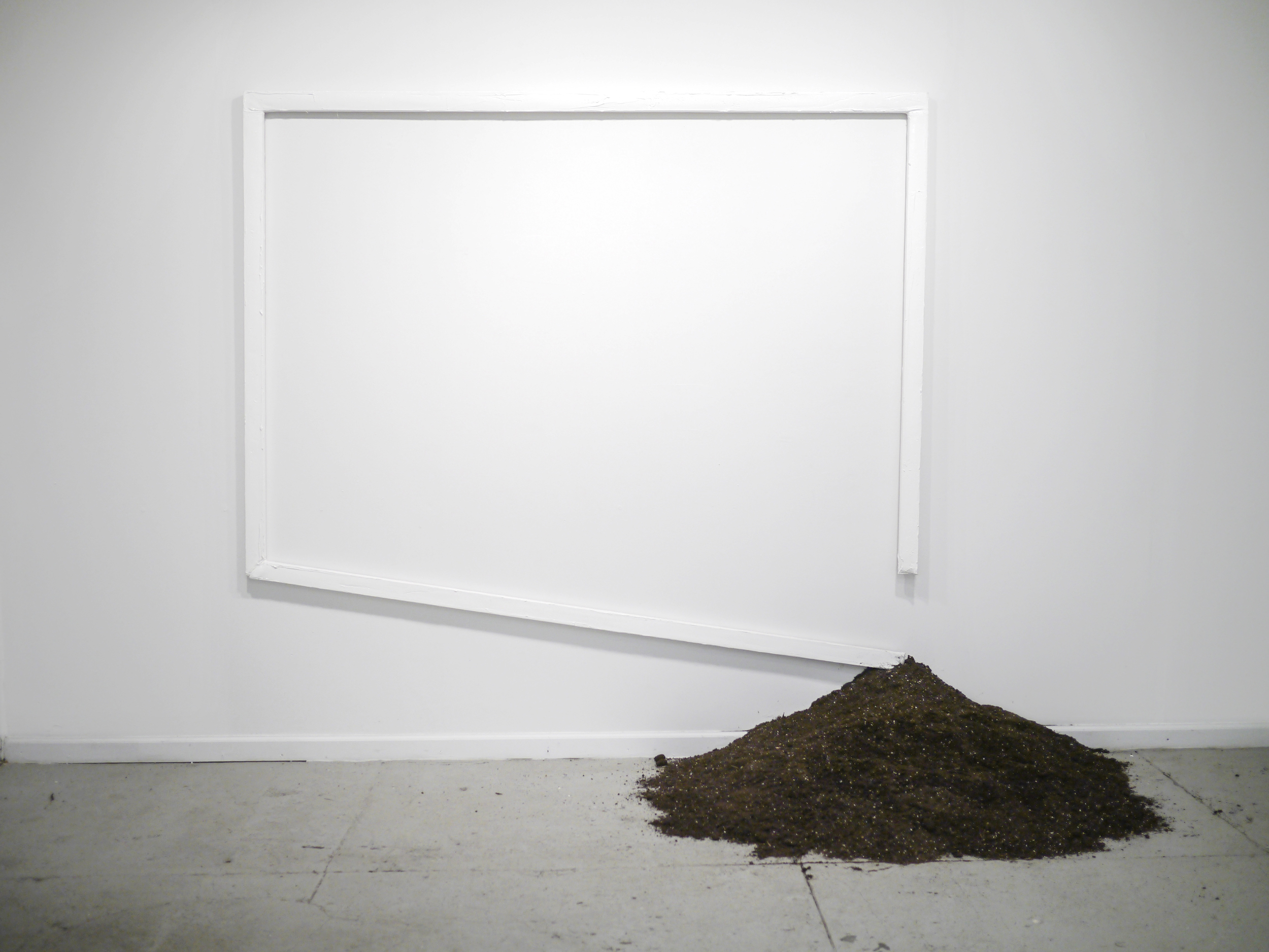Dirt in Line  84 inches x 87 inches  Oil on canvas, dirt, objects hidden in dirt  2015