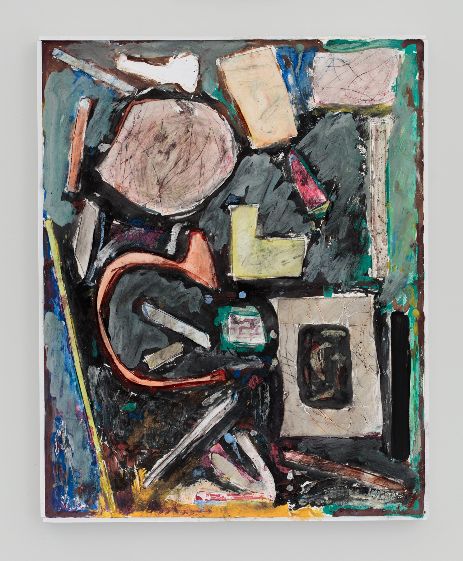 Untitled  20 inches x 16 inches  Oil, acrylic, enamel, foamcore, plaster on panel  2016
