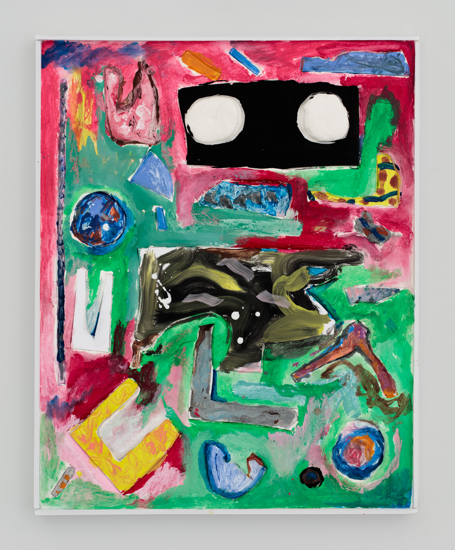 Untitled  20 inches x 16 inches  Oil, acrylic, enamel, foamcore, plaster on panel  2015