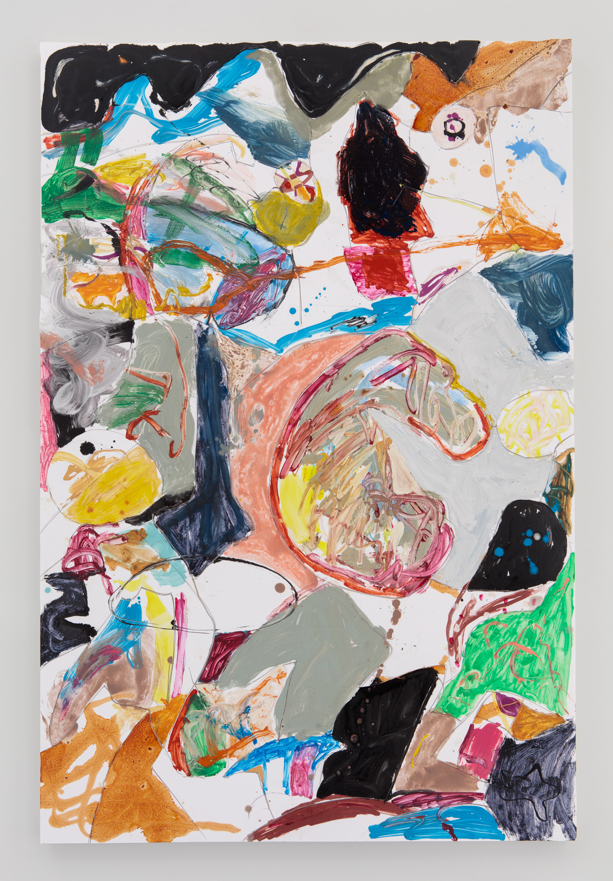 Dogged  48 inches x 32 inches  Oil, acrylic, enamel, foamcore on canvas  2015