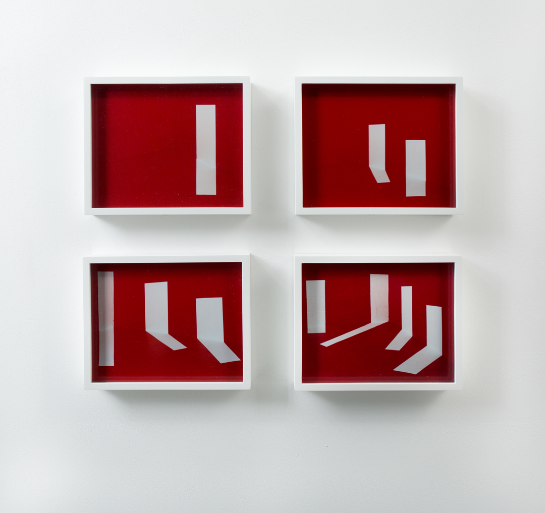 Punctuated Sequence in Red, I-IV   Analog C-prints mounted and framed  Edition 1 of 2, 1 artist proof  10 inches x 12 inches each  2010-2015