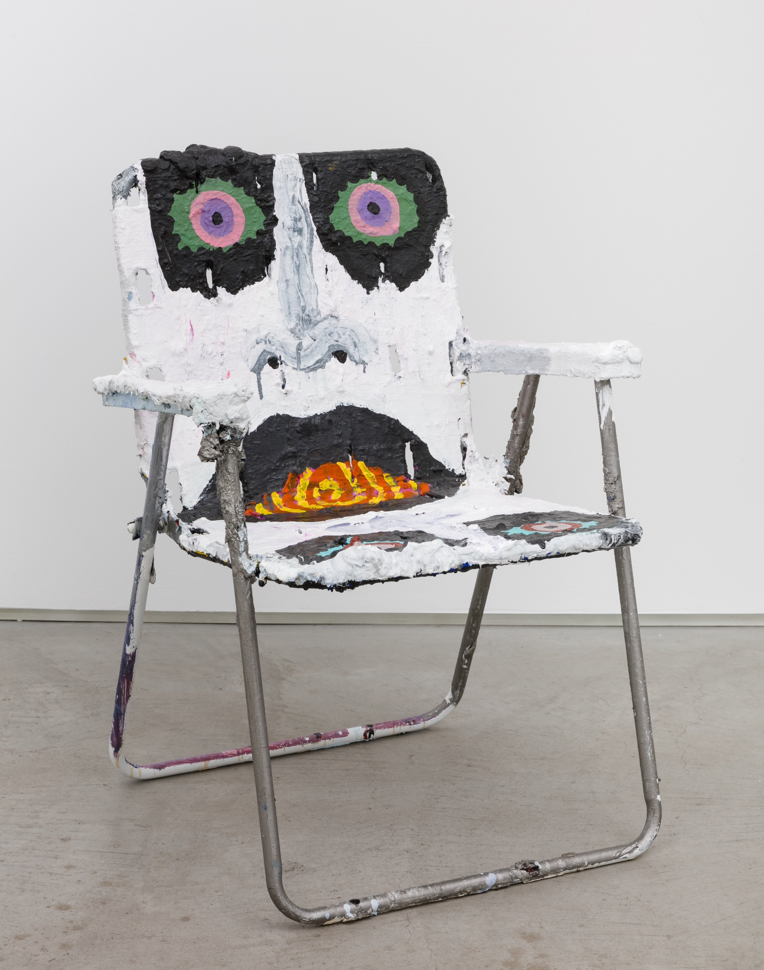 Phillip Hinge   Learn the Key to Clairvoyance   30 inches x 24 inches x 20 inches  Acrylic and oil enamel on folding chair  2015
