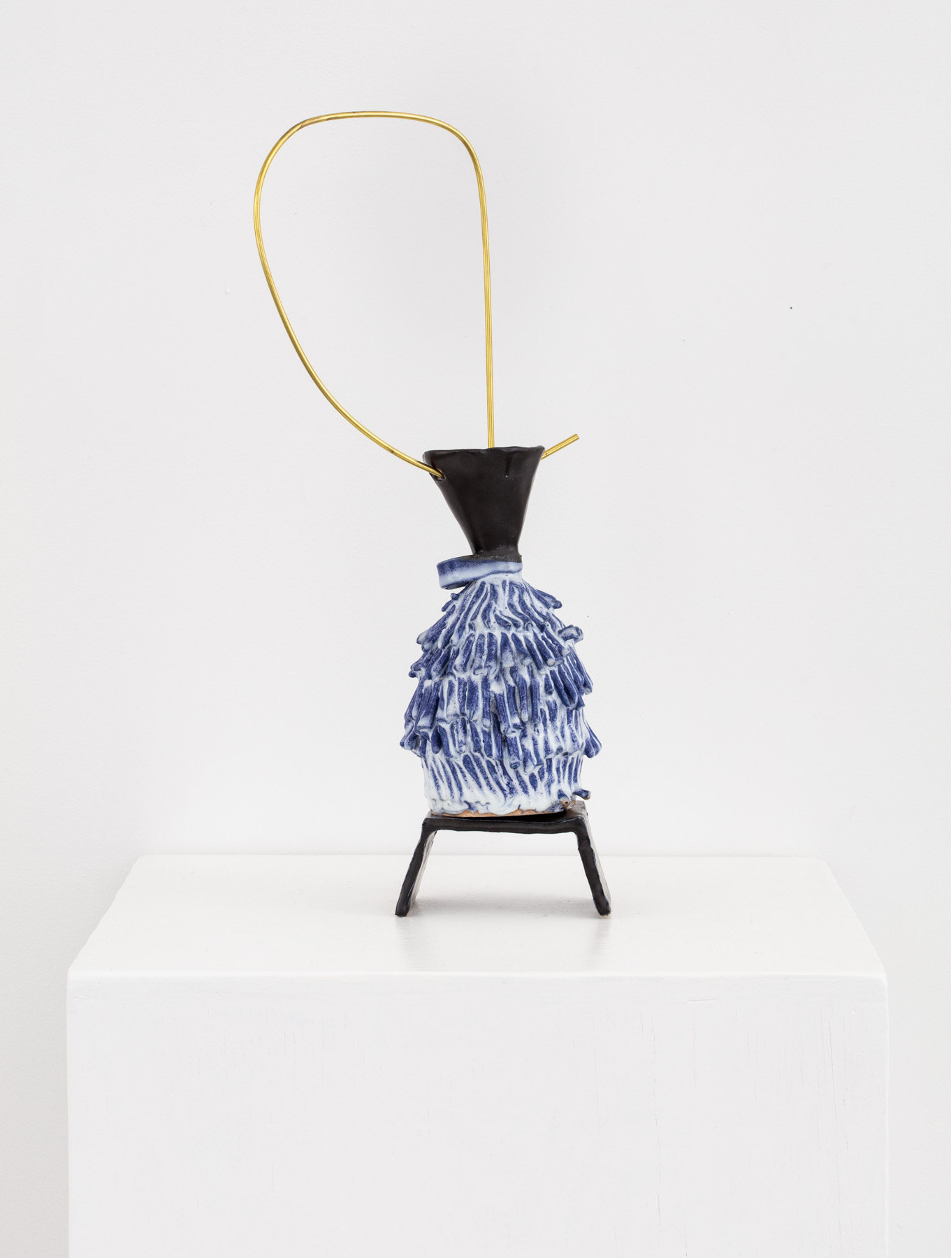 Quick Moves   Glazed ceramic and brass  5 inches x 3 inches x 20 inches  2016