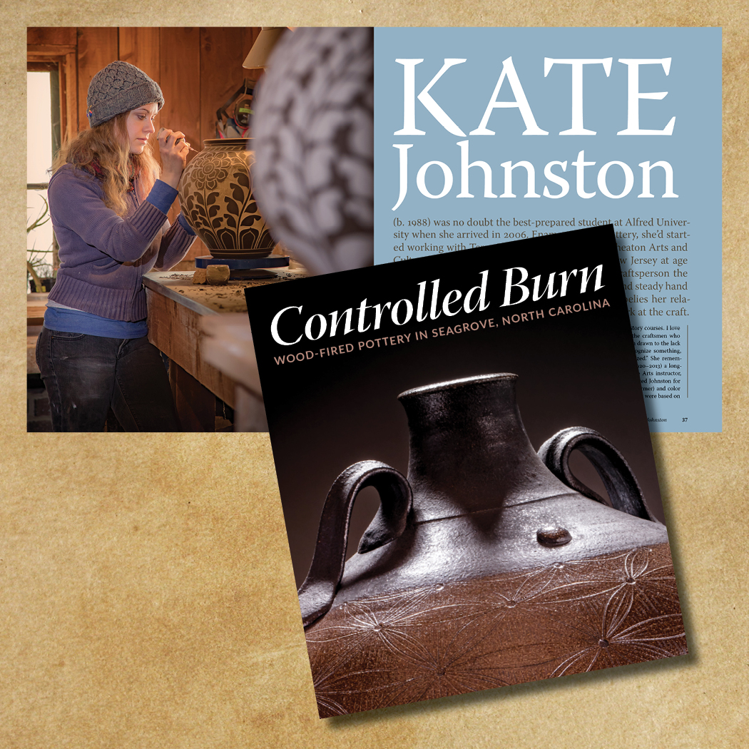"""Kate Johnston (b. 1988) was the youngest craftsperson the Wheaton Arts and Cultural Center ever hired. She went on to graduate from Alfred University. """"One of the earliest things ever put on pots were drawings of flora and foilage, and that what I'm doing,"""" she explains """"with the connector being functional clay objects."""""""