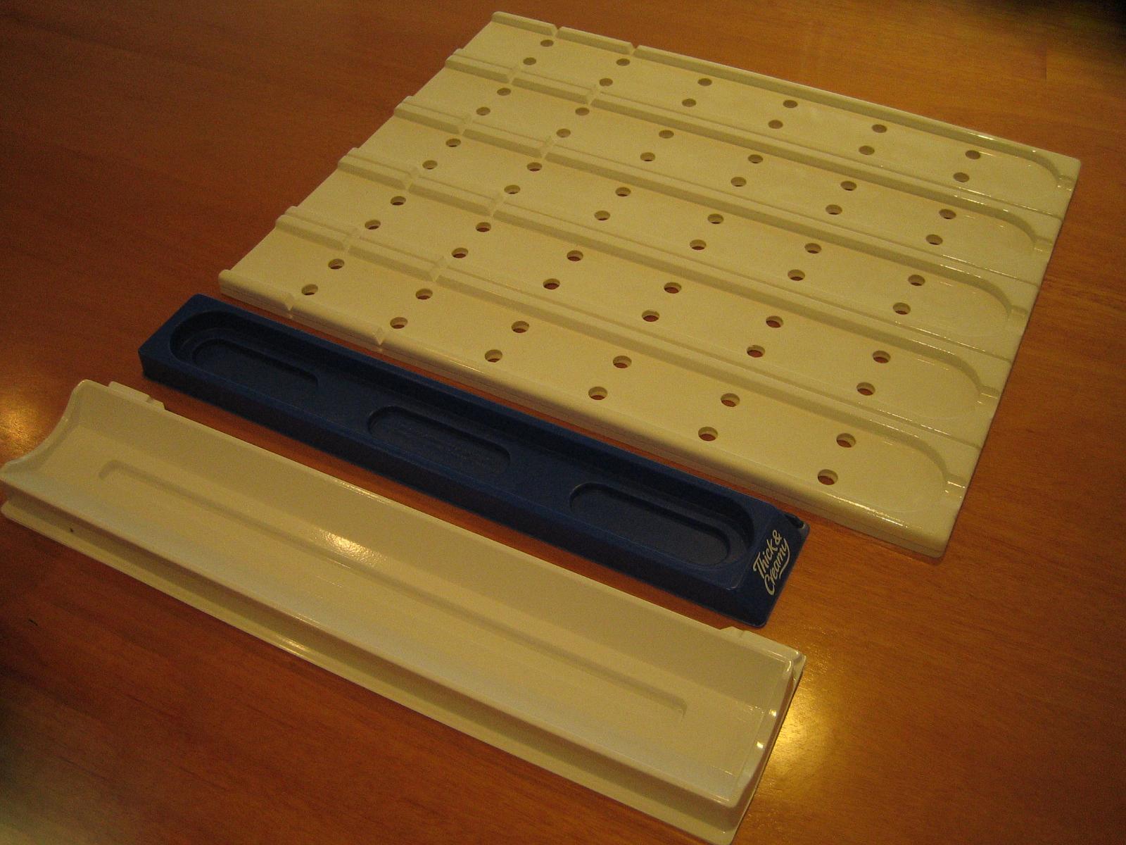 Freezer grade HIPS mouldings for shelf management inside supermarket fridge and freezer section.