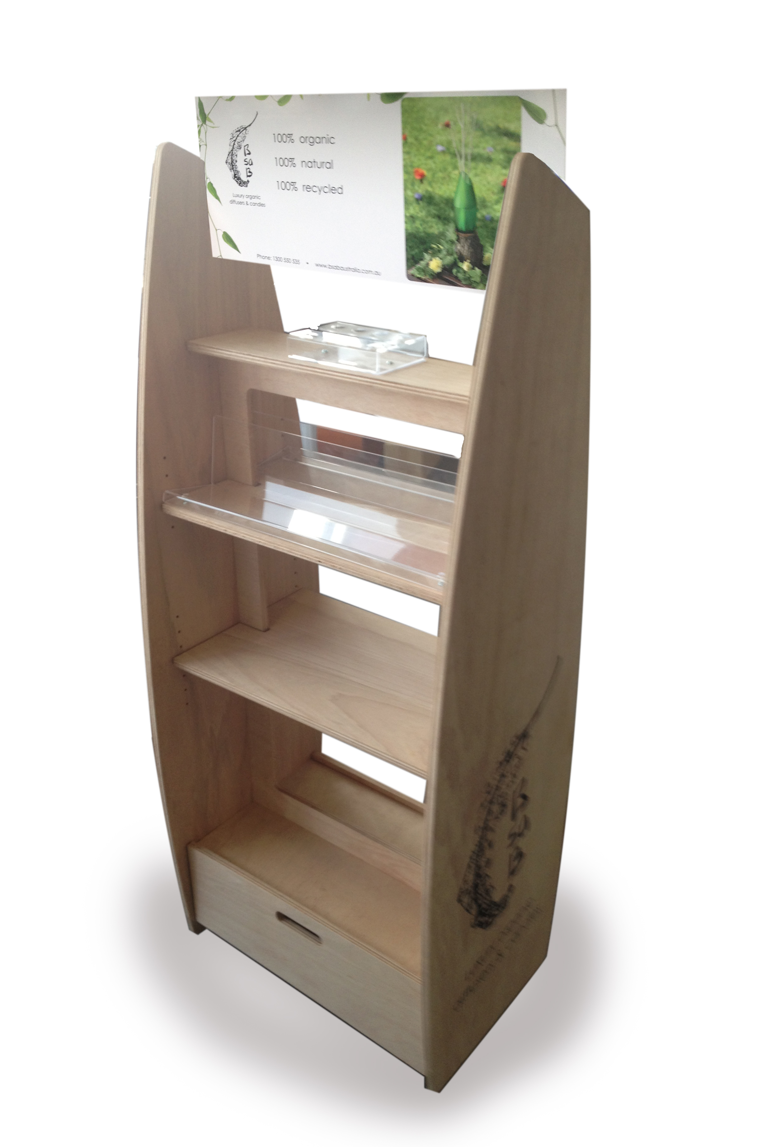 Flatpack Plywood floorstand with castors and storage underneath.Shoppable from both sides. Logo screenprinted directly on the sides. Interchangeable header card locates in slots.