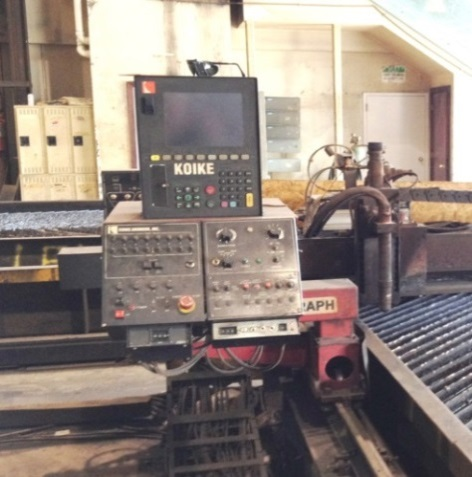 Before: Bridge style machine with Hypertherm HT4400 conventional plasma, obsolete CNC control, obsolete torch height control and lifter. Old Motors and Drives. Some parts were no longer available and down time was very costly.