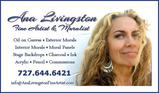 Ana Livingston Fine Artist & Muralist Business Card Oil on Canvas - Exterior Murals - Interior Murals - Mural Panels Stage Backdrops - Charcoal - Ink - Acrylic - Pencil - Commissions  www.analivingstonfineartist.com