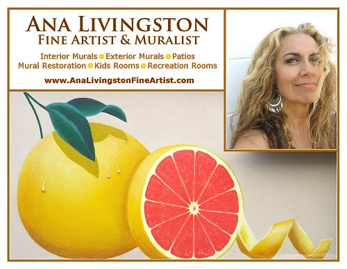 "Postcard promoting the ""Grapefruit Mural"", a 2-panel exterior mural completed at a private residence here in Clearwater, Florida. The project took 8 days and day-by-day progress can be found at my Art Blog   HERE  ."
