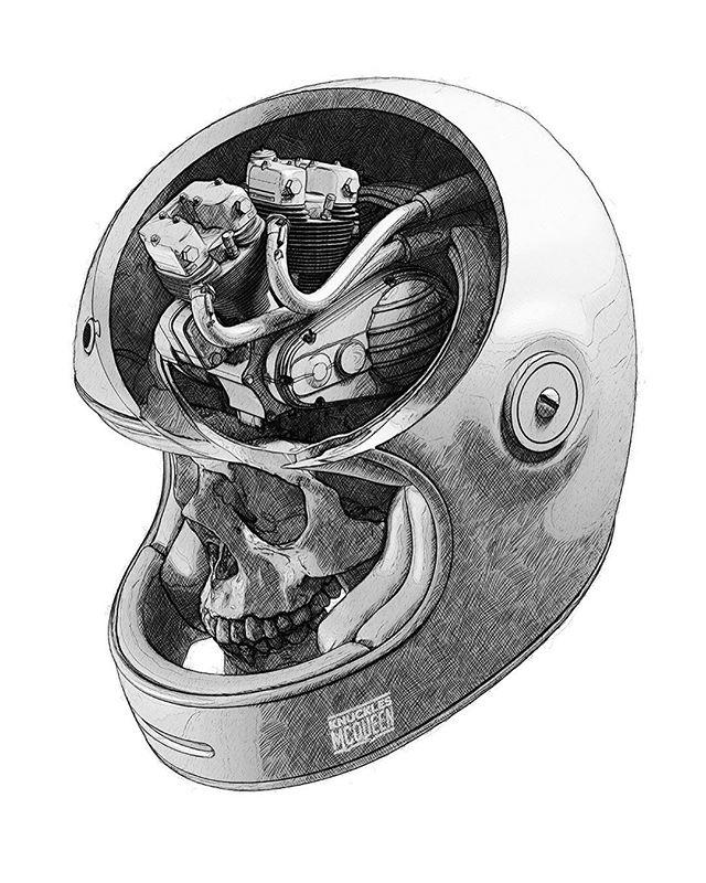 "Here's something new for @knucklesmcqueen. Swipe for variations ""Flathead"" and ""Bonny"" and please follow @knucklesmcqueen for moto themed work! . . . . #motoart #caferacer #scrambler #flattracker #streettracker #triumphbonneville #harleyflathead #harleydavidson #triumph #bellbullitt #motorcycleart"
