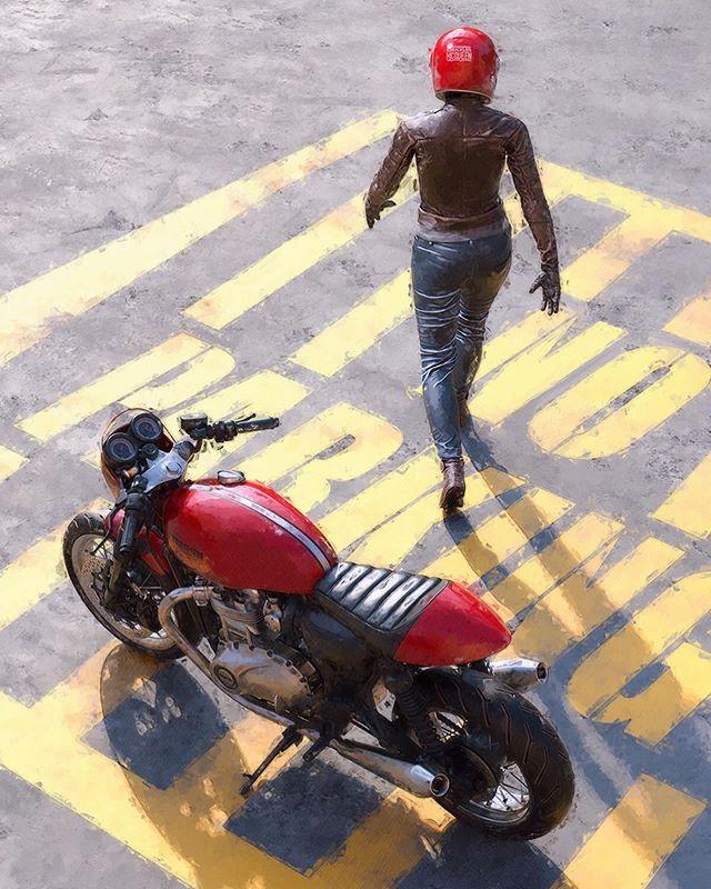 No Parking... 🏍 . @knucklesmcqueen . #motorcycleart #motoart #caferacer #scrambler #streettracker #triumph #ducati #motoguzzi #bmwairhead #thruxton #bikelife