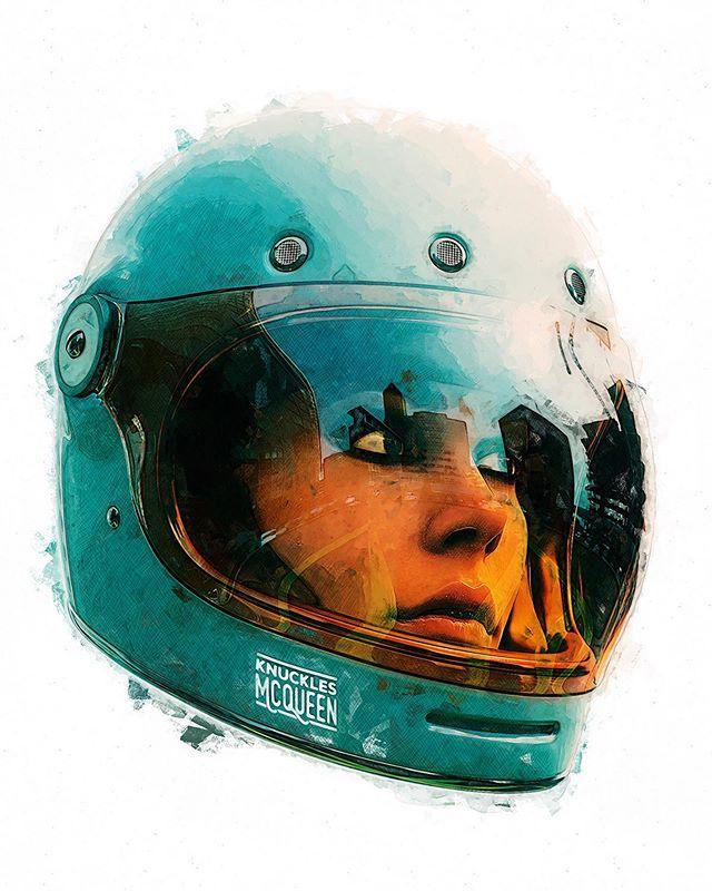 Bubble Visor girl... for @knucklesmcqueen . . . #motoart #motorcycleart #caferacer #scrambler #streettracker #bellbullitt #maya #redshift #photoshop
