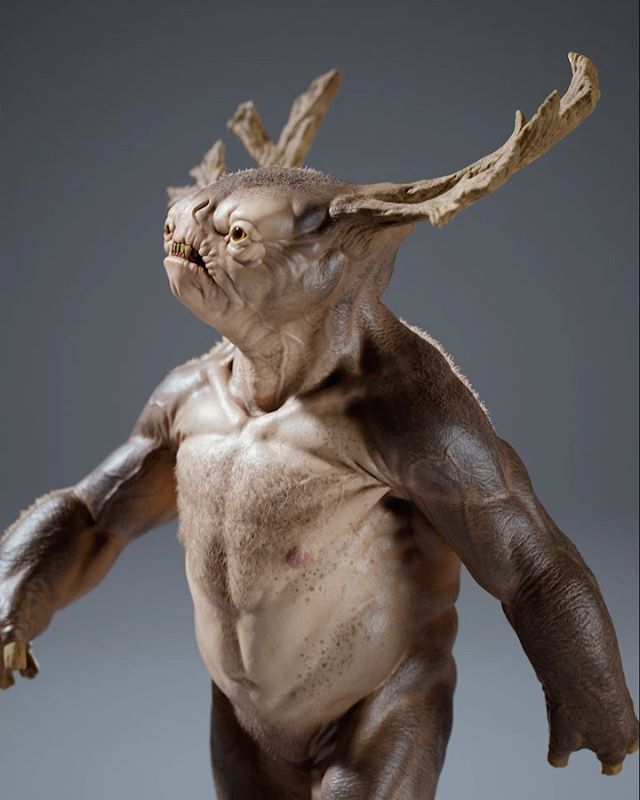 I took this guy into substance painter for a bit of texturing. Rendered with redshift. . . . #zbrush #characterdesign #creaturedesign #redshift3d #vfx #creatureart #maya