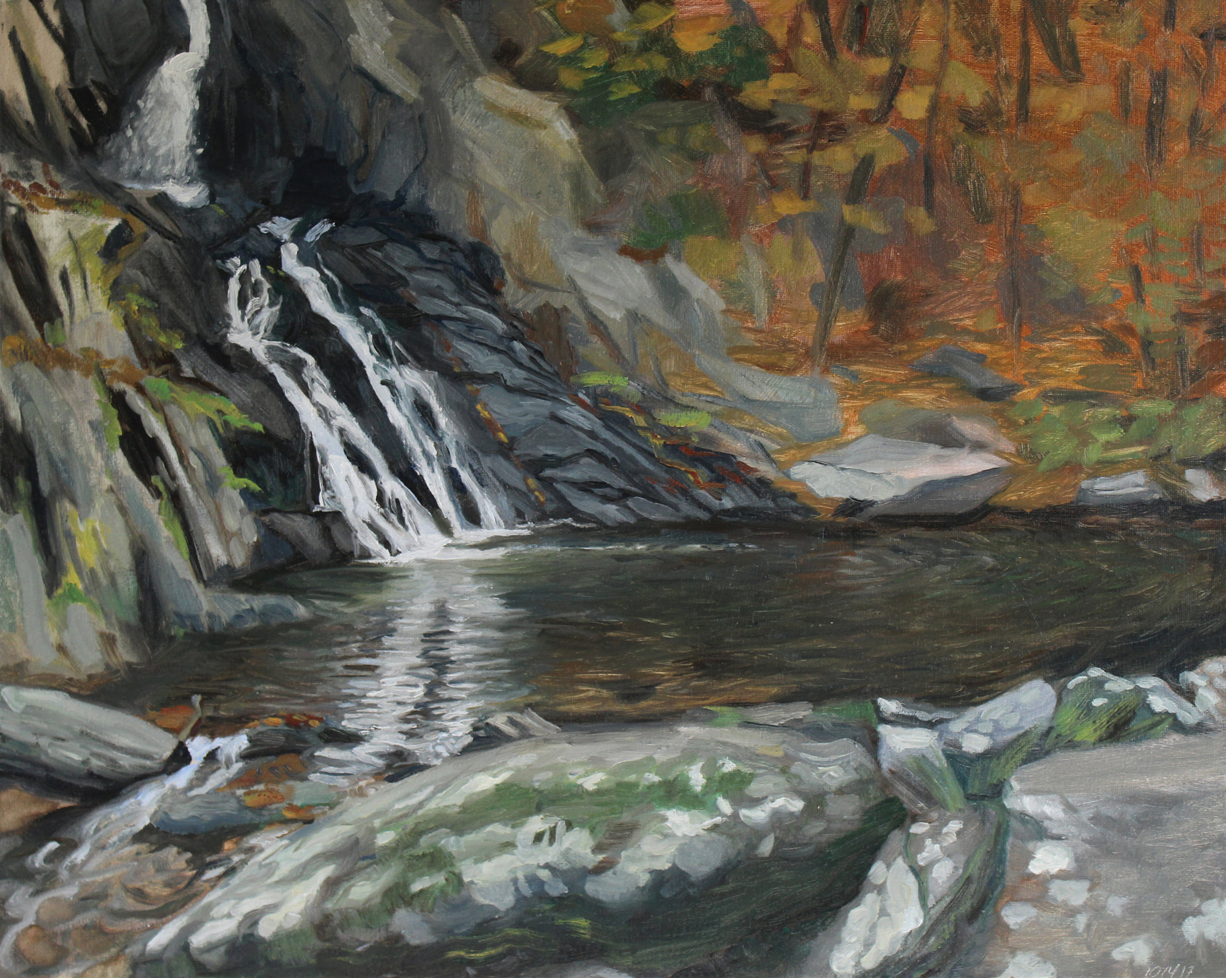 """15. HIgh Falls, Philmont NY. 16"""" x 20"""". Oil on Canvas. 2017.    This work was painted  en plein air."""