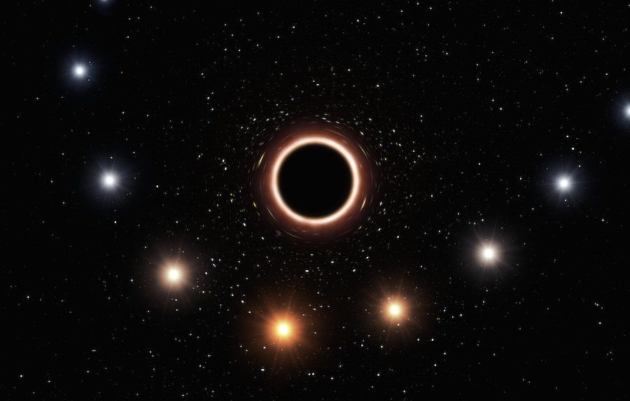 Red shift as star passes by a black hole. composite image.