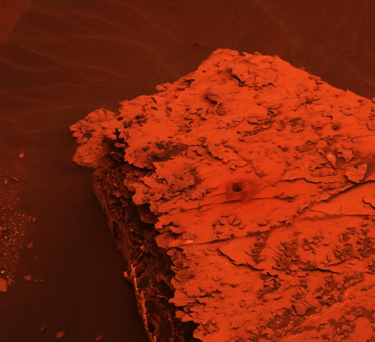 Mars during dust storm by curiosity rover  alizarin orange and burnt sienna and black
