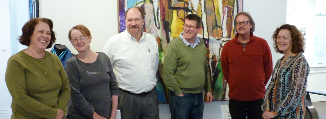 Arts Mineral Point board of directors. L to R: Nancy Lyon (Treasurer), Jan Johnson, Brian Stuart (Vice-President), Ried Knapp (President), Peter Flanary, Betty Hogan (Secretary)
