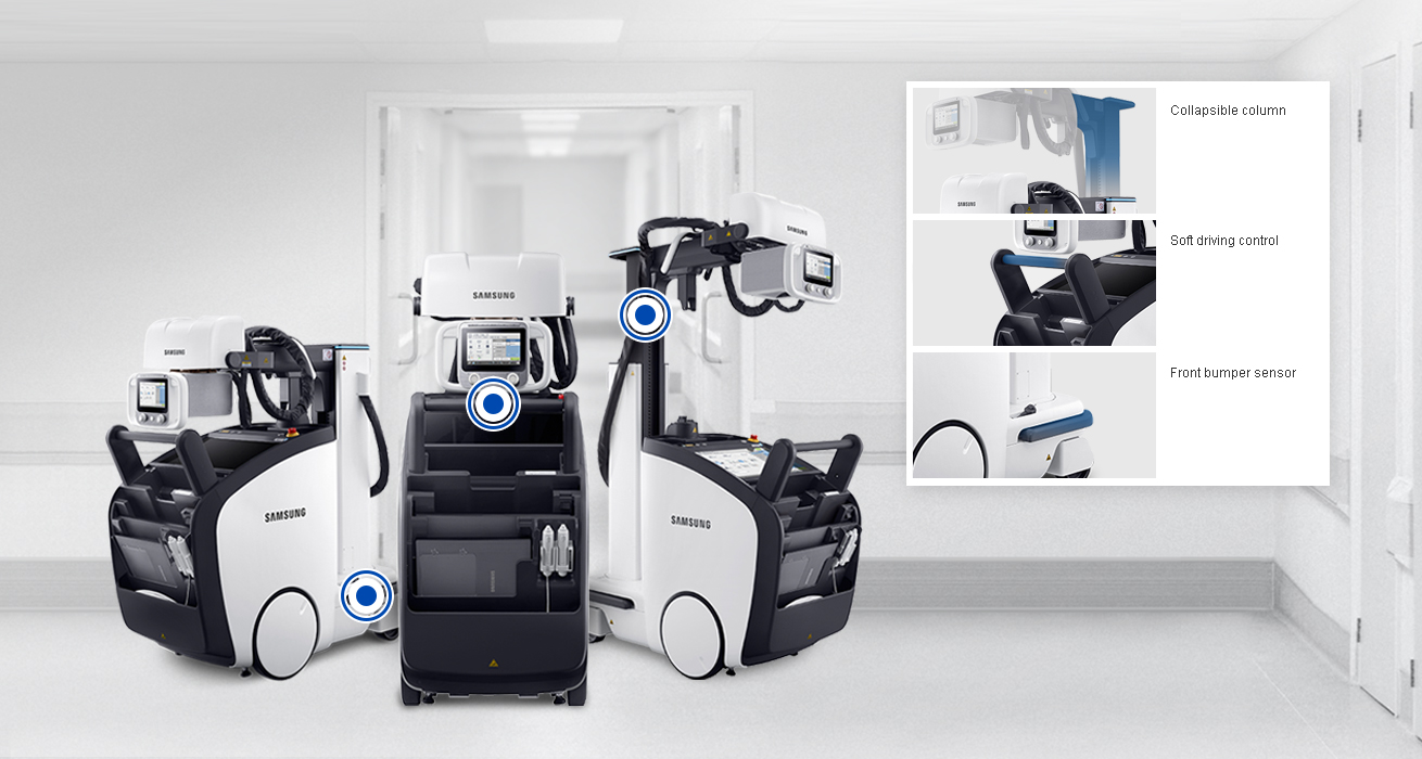 Small Footprint   The small footprint of GM85 improves user convenience when moving through narrow hallways and being positioned in tight patient rooms. Its light weight enables easy navigation and allows users to get on elevators with the device safely and comfortably.