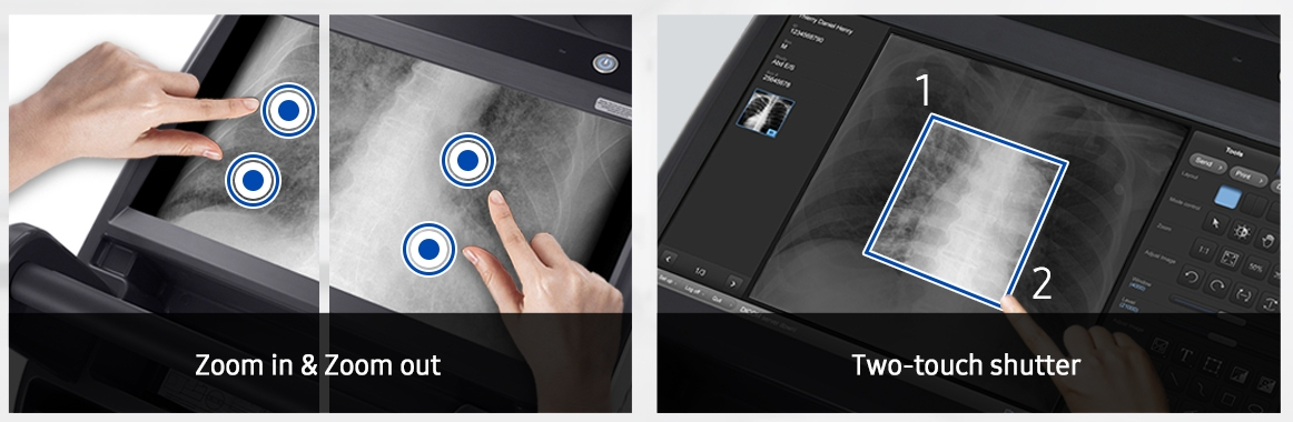 Multi-touch   The multi-touch function allows users to control and adjust images easily and intuitively with fingers only. Pinch gesture enables the user to zoom in and out while the two-touch shutter makes image cropping easy.