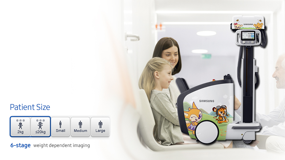 Pediatric exposure management  Optimized 6-stage weight dependent imaging enables pediatric patients to avoid unnecessary x-ray exposure with precise dose management.  Devices can also be fitted with a child friendly cover design.