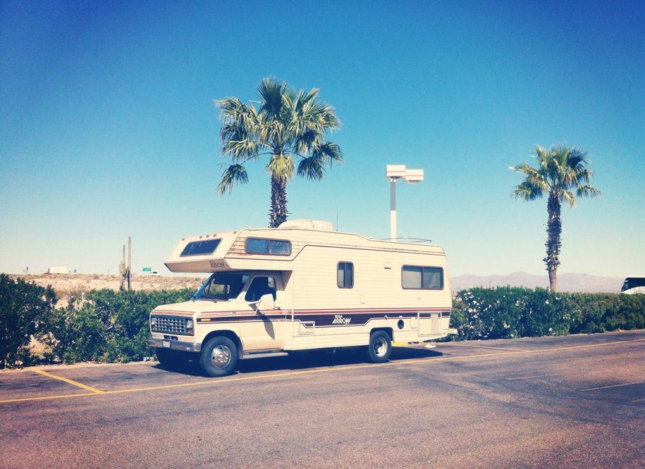 Our RV at a desert truckstop.