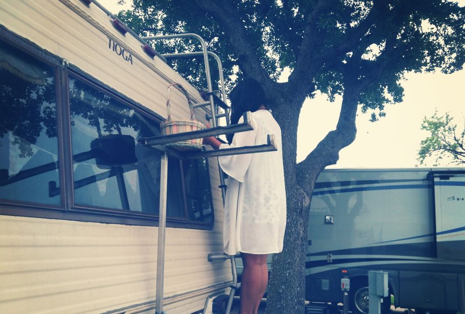 Having an Easter egg hunt around our RV.