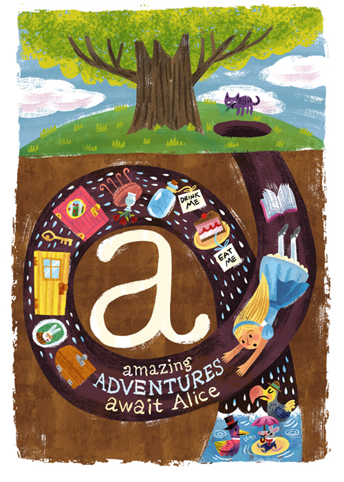 """Alice's A,B,C's"" Tiny Tales / Literary classics show (Gallery 1988)"