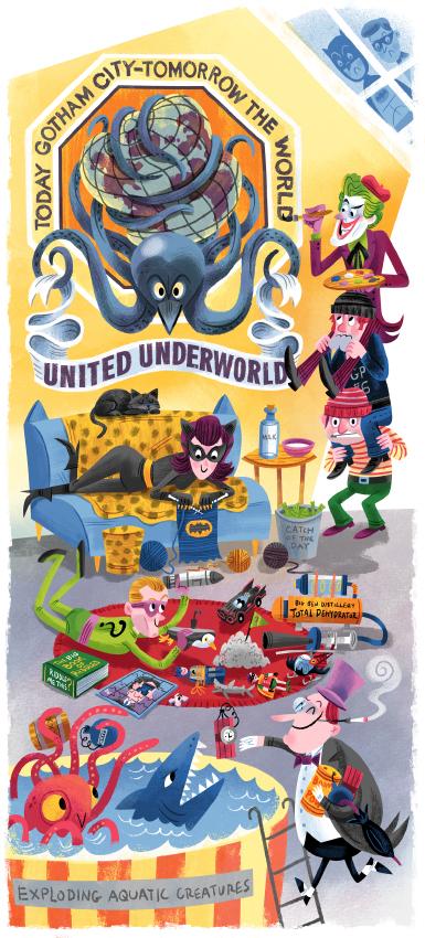 """Downtime in the Underworld - Batman 1966"" DOWNTIME (duo show w/ Glen Brogan) (Gallery 1988)"
