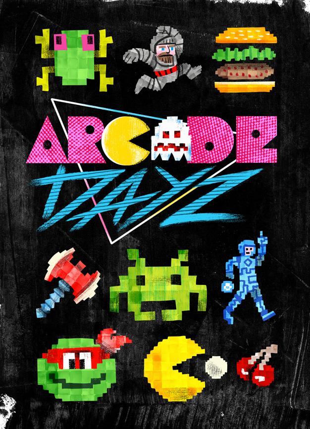 """""""Arcade Dayz - postcard set main"""" DOWNTIME (duo show w/ Glen Brogan) (Gallery 1988)"""