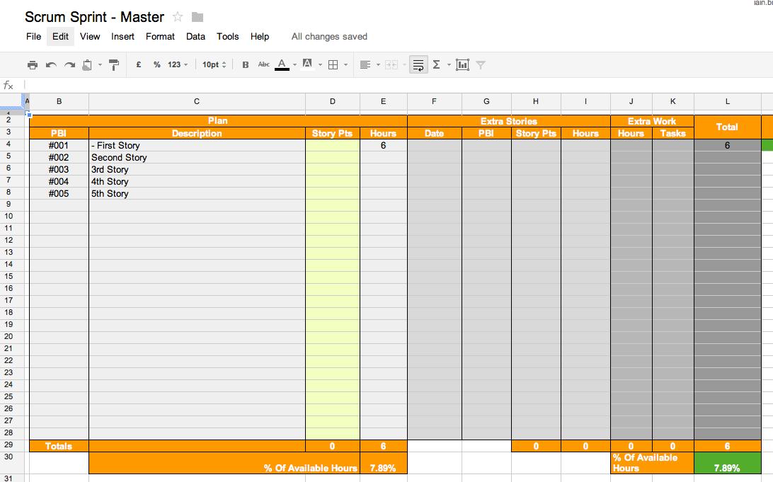Scrum Sprint Spreadsheet - Review Sheet