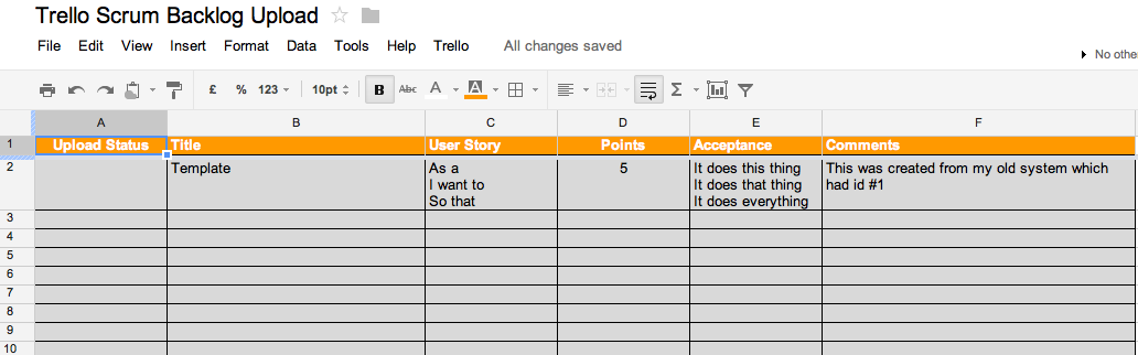 Trello Scrum Backlog Upload - Backlog Sheet