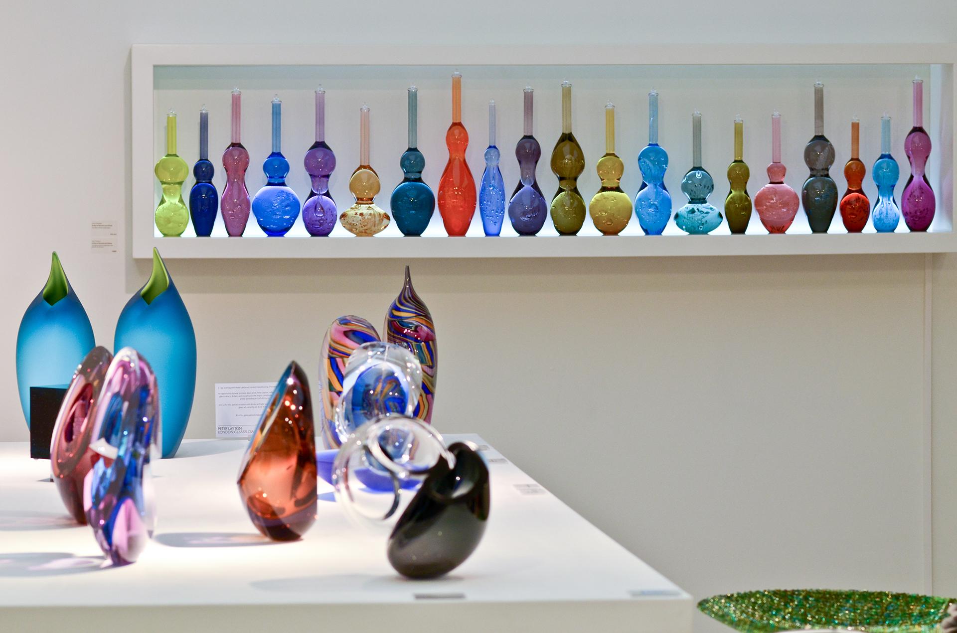 Contemporary Glassware displayed in Bespoke Vitrines