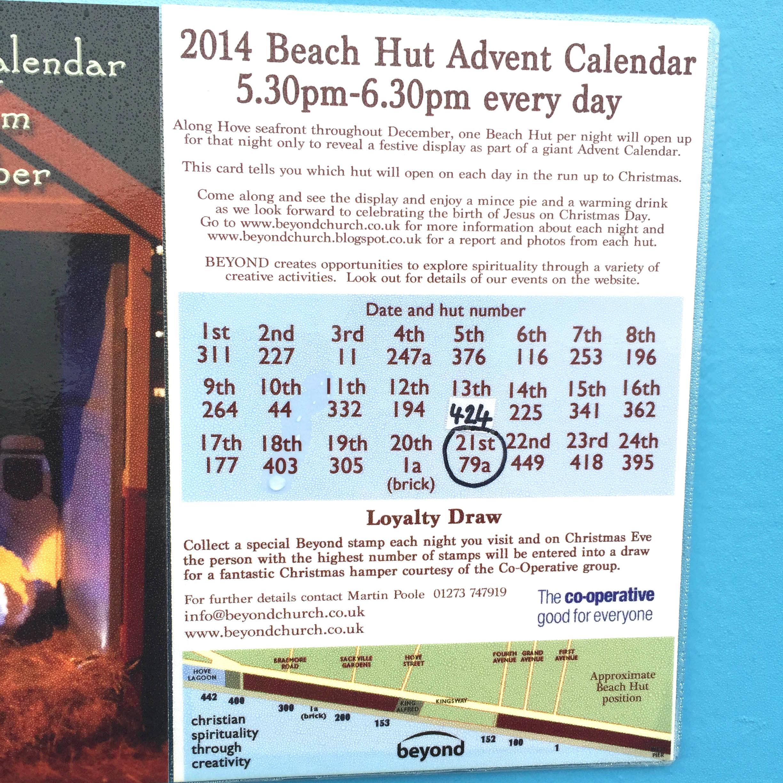 Beach hut advent calendar community project, Hove
