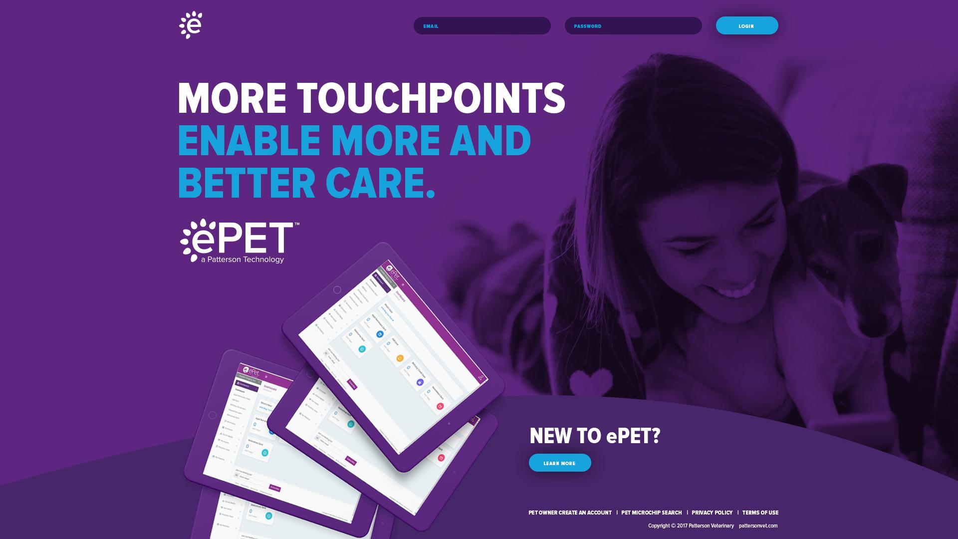 ePet Login Portal Design