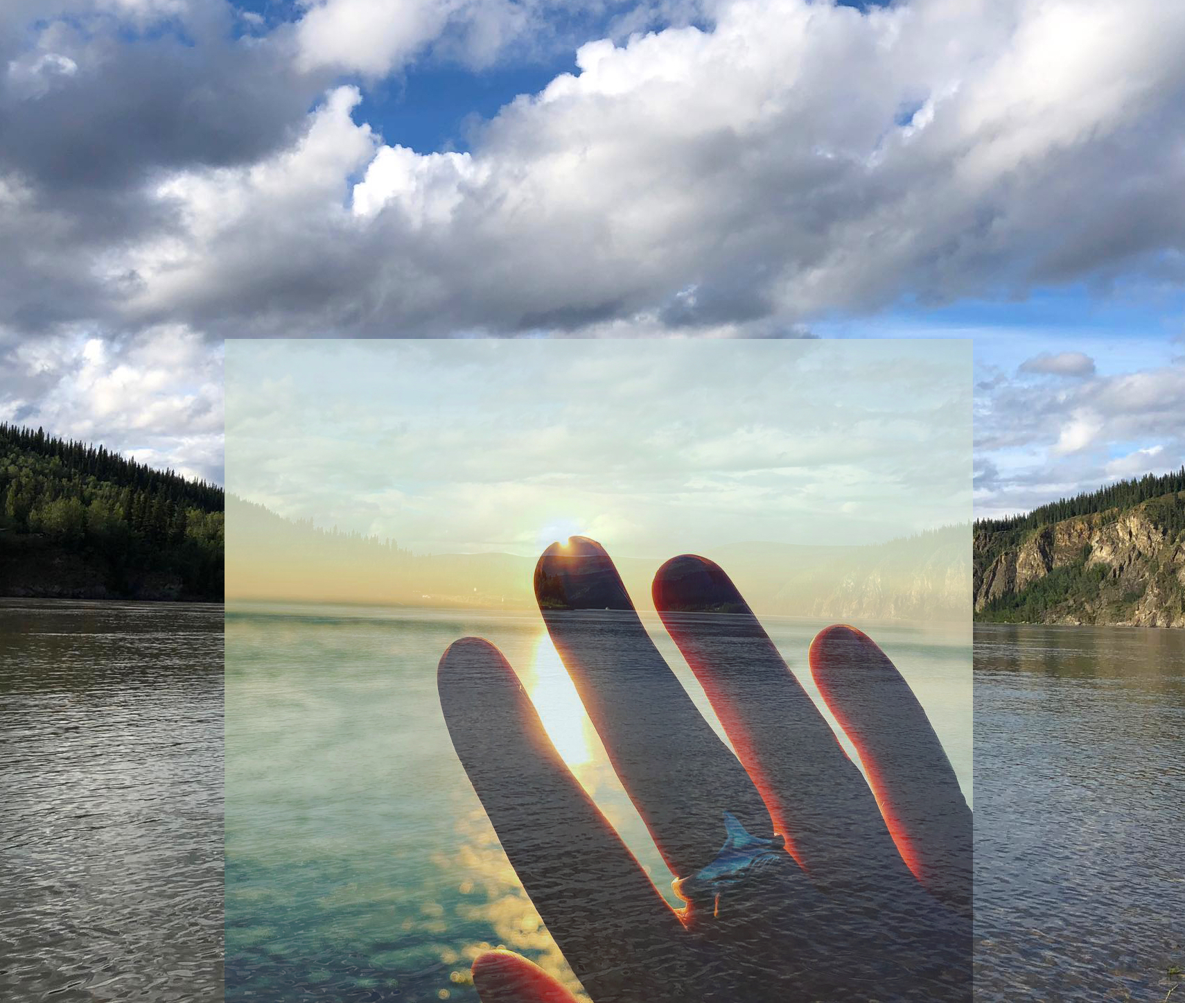 Lindsay Dobbin and Matthew Morgan,  Receive Transmit (Bay of Fundy and Yukon River),  Bay of Fundy photo by Lindsay Dobbin, Yukon River photo by Matthew Morgan, 2018.