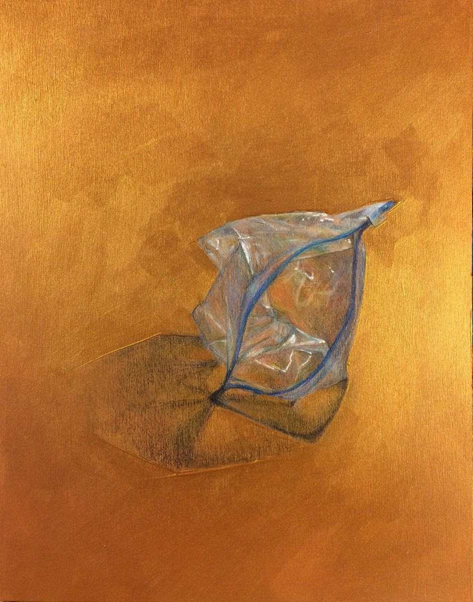 "Ian McKinnon,  untitled #107  ( Still/Life  series), 2019 prismacolor pencil and iridescent gold gesso on 14"" x 10"" birch panel"