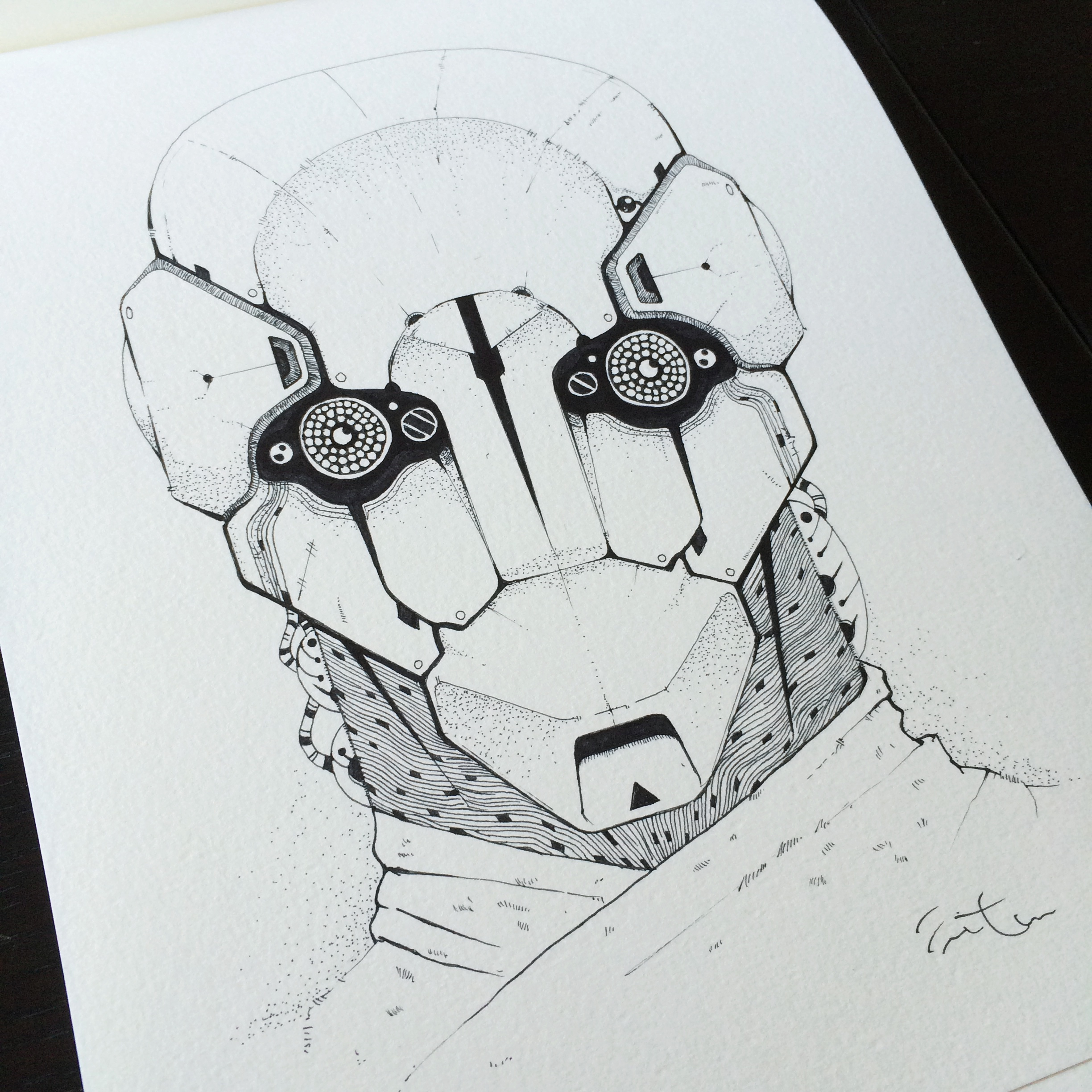 "Conceptual drawing for ""Pero"", one of the mechanoids in the story."