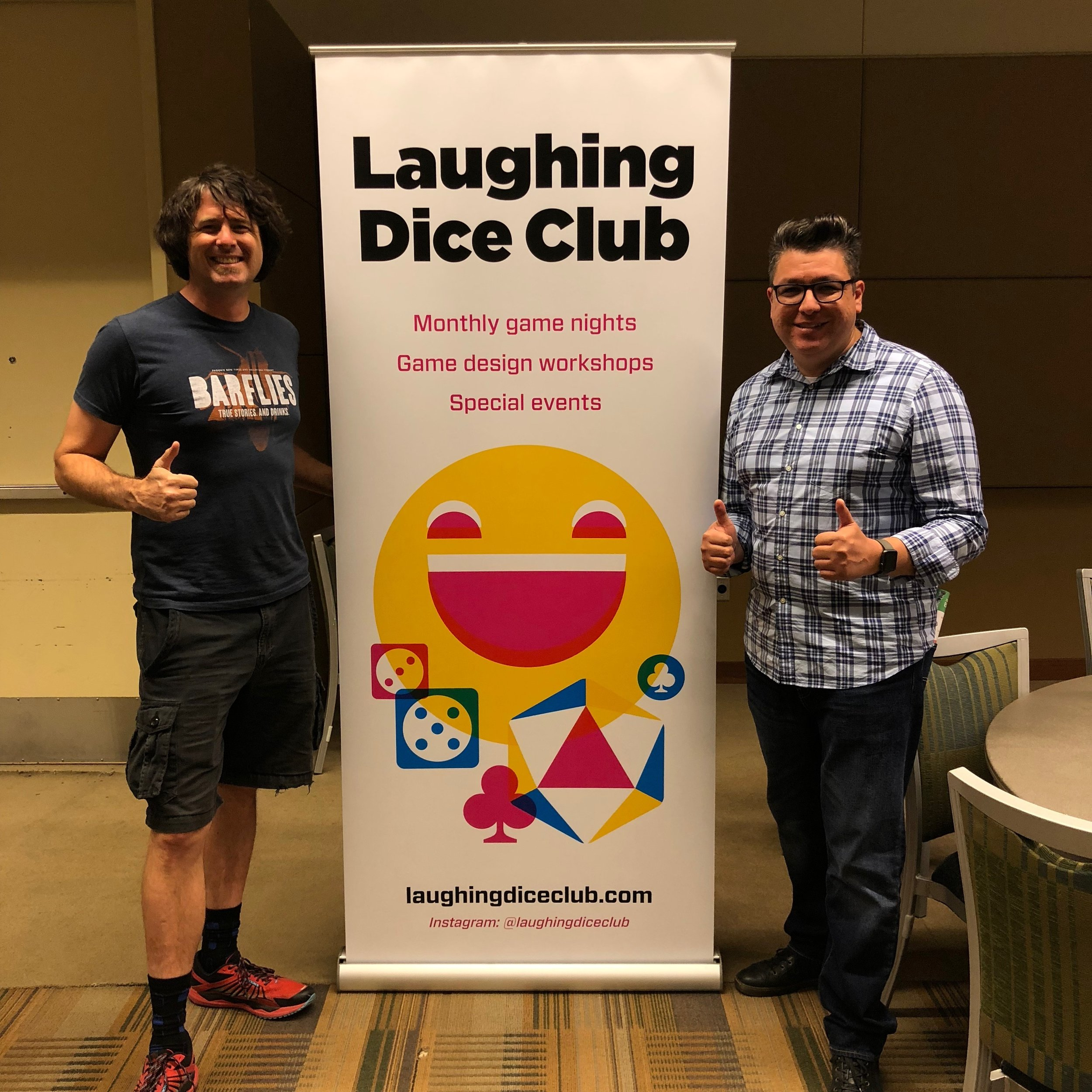 Look for these friendly faces! (Kevin = left, fancy official LDC banner = middle, Eric = right.)