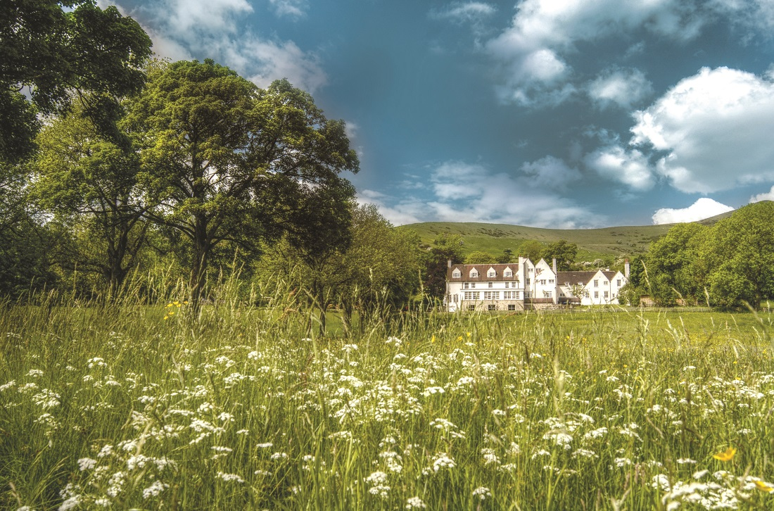 The meadow in Spring at Losehill House Hotel and Spa