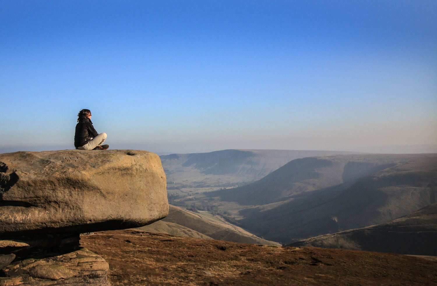 Julia Bradbury takes time out to enjoy the view in the Peak District