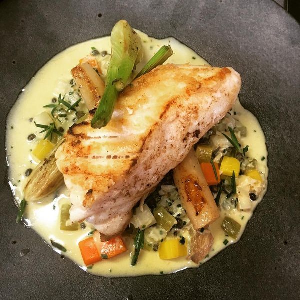 Butter roasted halibut, stew of Arbroath smokie, celeriac, carrot and samphire (November).PNG