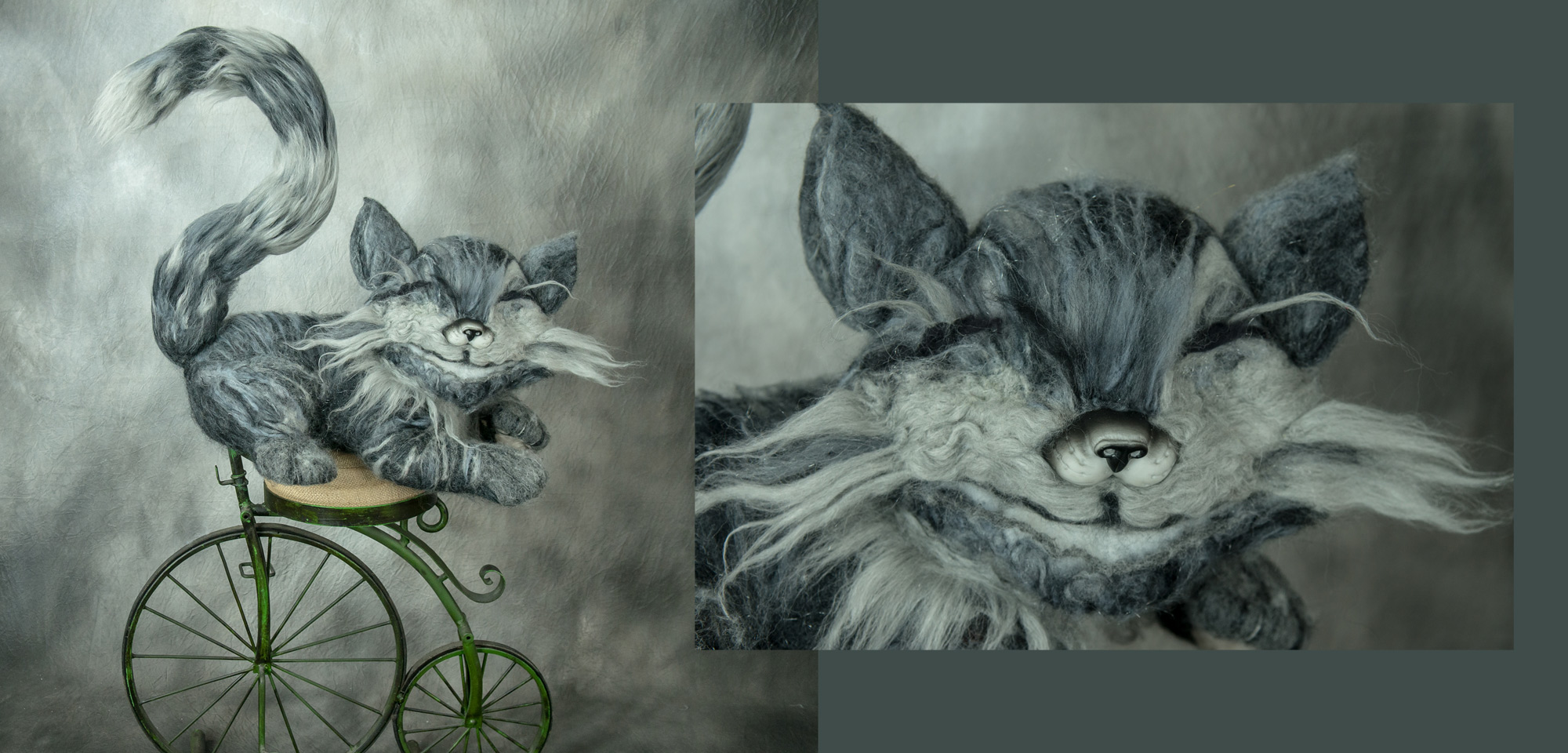 Here is a close up of the cat. I love how it turned out. Especially considering that it's my first large scale needle felted project ever :)