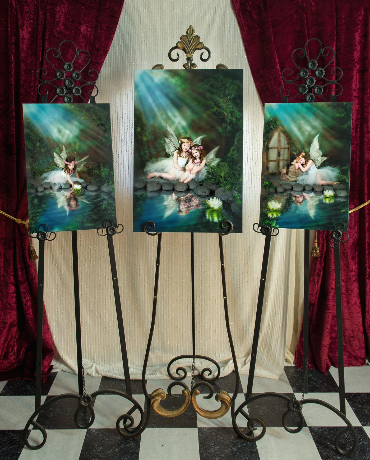 I absolutely had to put these portraits on easels and take a photo of them as soon as they arrived.  Not sure if the photo does the justice to how incredibly beautiful they look together. I called it 'Magic, Love and Harmony'... :)